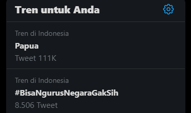 Hastag #Papua Tranding di Twitter